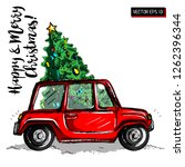 christmas car with the tree.... | Shutterstock .eps vector #1262396344