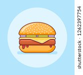burger with beef and cheese... | Shutterstock .eps vector #1262397754