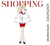 beautiful woman in red dress...   Shutterstock .eps vector #1262412424