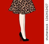woman legs in dress leopard... | Shutterstock .eps vector #1262412427