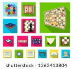 board game flat icons in set... | Shutterstock .eps vector #1262413804