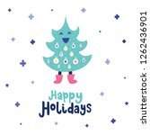 colorful christmas vector card. ... | Shutterstock .eps vector #1262436901