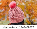 Women's Knitted Hat On Her Head ...