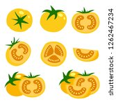 set of fresh yellow tomatoes... | Shutterstock .eps vector #1262467234