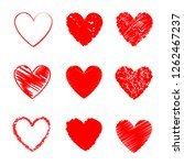heart hand drawn icons set... | Shutterstock .eps vector #1262467237