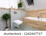 modern bathroom interior with... | Shutterstock . vector #1262467717