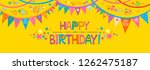 happy birthday  greeting card.... | Shutterstock . vector #1262475187
