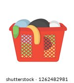 laundry basket with dirty... | Shutterstock .eps vector #1262482981