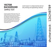 Oil rig banner for your text. Vector illustration.