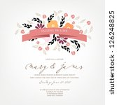 invitation or wedding card with ...