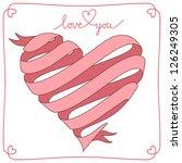 vector banner in shape of heart ...