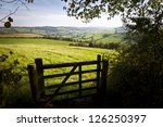 View of a farm gate leading into lush green countryside.