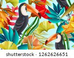 seamless design with toucan... | Shutterstock . vector #1262626651