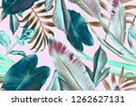 seamless tropical leaves... | Shutterstock . vector #1262627131