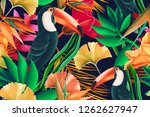 Stock photo seamless design with toucan bird and tropical leaves botanical elements orchid flowers palm 1262627947