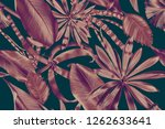 seamless tropical leaves... | Shutterstock . vector #1262633641