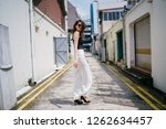 a young  tall  slim and elegant ... | Shutterstock . vector #1262634457