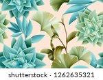 seamless tropical leaves...   Shutterstock . vector #1262635321