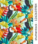 seamless design with toucan...   Shutterstock . vector #1262635984