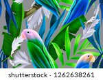 seamless pattern with parrots... | Shutterstock . vector #1262638261
