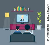 two man friends watch tv in the ... | Shutterstock .eps vector #1262656204