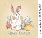 easter bunny retro card with... | Shutterstock .eps vector #126266735