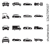 car icons. black flat design.... | Shutterstock .eps vector #1262709337