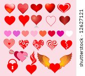 collection of heart icons | Shutterstock .eps vector #12627121