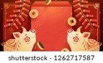 lunar new year piggy banner... | Shutterstock . vector #1262717587
