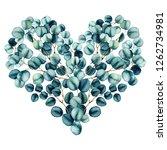herbal heart with watercolor... | Shutterstock . vector #1262734981