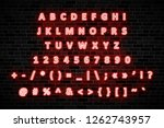 red neon signs capital letters  ...   Shutterstock .eps vector #1262743957