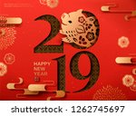 lunar year design with cute... | Shutterstock .eps vector #1262745697