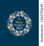 christmas greeting navy blue... | Shutterstock . vector #1262753194