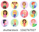 color icons with reading boys... | Shutterstock . vector #1262767027