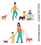 Stock photo people walking their dogs on leashes and having fun together picture represented on raster 1262767354