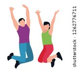 jumping exercise flat icon... | Shutterstock .eps vector #1262776711