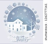 winter paper card decorated by...   Shutterstock .eps vector #1262777161