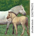 Mare With Foal. Acrylic...