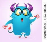 Stock vector cute cartoon monster yeti vector bigfoot character 1262786287