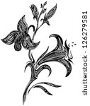 orchid drawn in graphics... | Shutterstock . vector #126279581