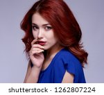 beauty model woman with long... | Shutterstock . vector #1262807224