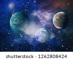 stars of a planet and galaxy in ... | Shutterstock . vector #1262808424