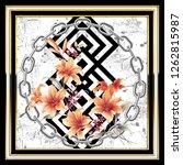silk scarf design  fashion... | Shutterstock . vector #1262815987