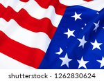 close up of waving american flag | Shutterstock . vector #1262830624
