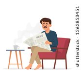 father read newspaper as his... | Shutterstock .eps vector #1262853451