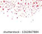 Stock vector heart confetti falling down isolated valentines day concept heart shapes overlay background 1262867884