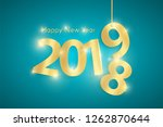 turquoise happy new year 2019... | Shutterstock . vector #1262870644