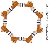 hands in a circle and strength... | Shutterstock . vector #1262882104