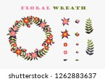 floral wreath. vintage flowers... | Shutterstock .eps vector #1262883637