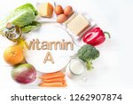 vitamin a rich foods. top view. ... | Shutterstock . vector #1262907874